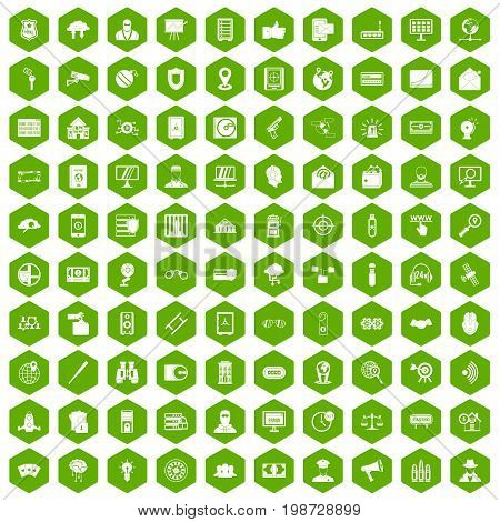 100 security icons set in green hexagon isolated vector illustration