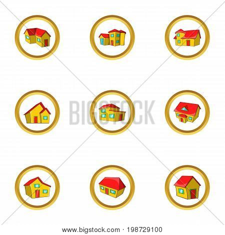 House icon set. Cartoon set of 9 house vector icons for web isolated on white background