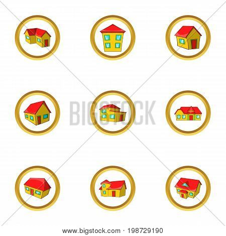 New model house icon set. Cartoon set of 9 new model house vector icons for web isolated on white background