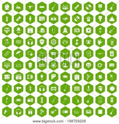 100 show business icons set in green hexagon isolated vector illustration
