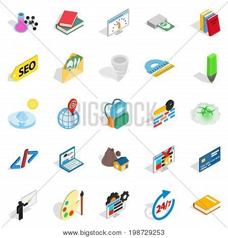 Chemical substance icons set. Isometric set of 25 chemical substance vector icons for web isolated on white background