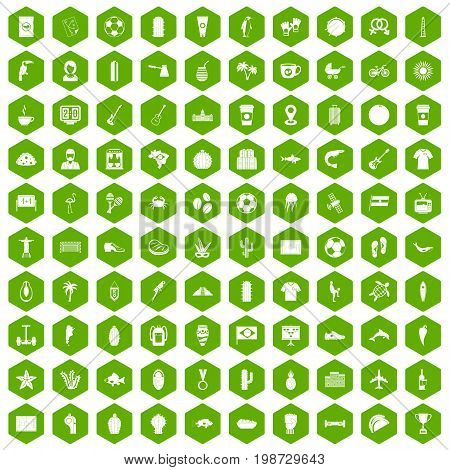 100 South America icons set in green hexagon isolated vector illustration