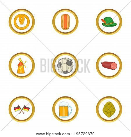 Germany icon set. Cartoon set of 9 germany vector icons for web isolated on white background