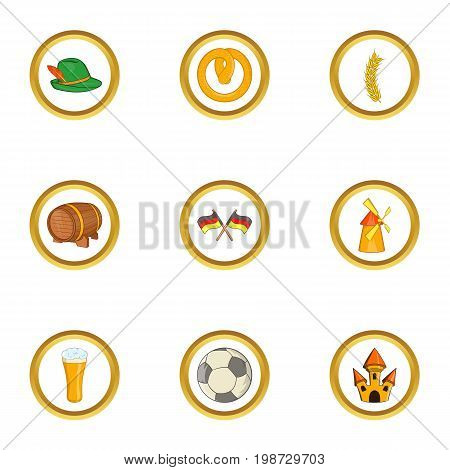 Germany country icon set. Cartoon set of 9 germany country vector icons for web isolated on white background