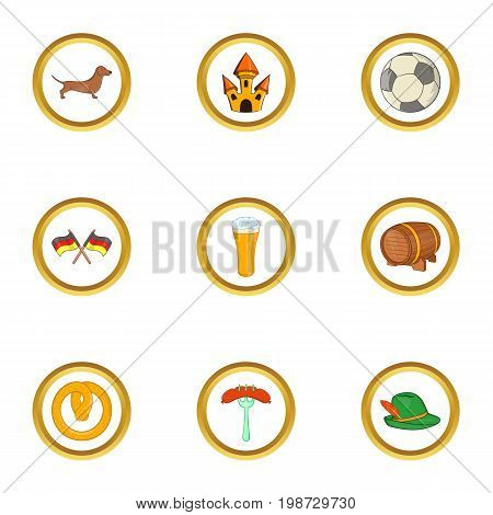 Germany tourism icon set. Cartoon set of 9 germany tourism vector icons for web isolated on white background
