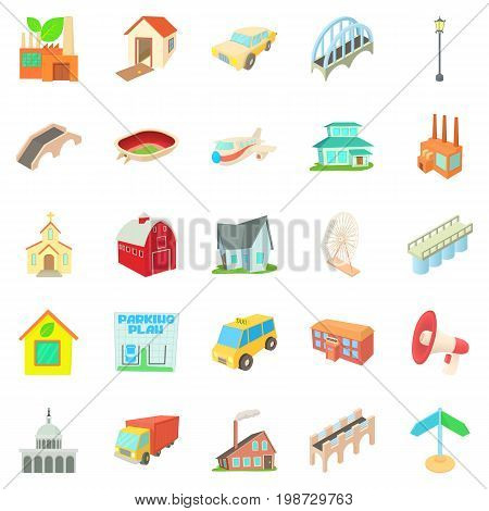 Urban transport icons set. Cartoon set of 25 urban transport vector icons for web isolated on white background