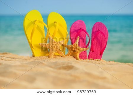 Sea-stars with yellow and pink sandals stand in the sand against the background of the sea
