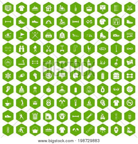 100 sport life icons set in green hexagon isolated vector illustration