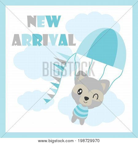 Cute baby raccoon flies with air balloon vector cartoon illustration for baby shower card design, postcard, and wallpaper
