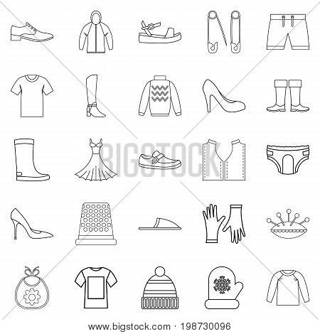 Outgoing clothes icons set. Outline set of 25 outgoing clothes vector icons for web isolated on white background