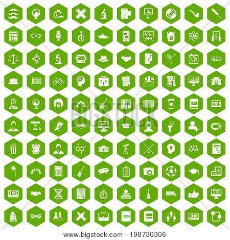 100 student icons set in green hexagon isolated vector illustration