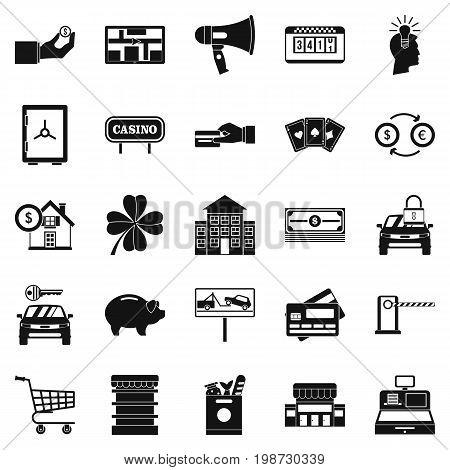 Hard money icons set. Simple set of 25 hard money vector icons for web isolated on white background