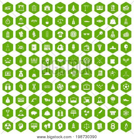 100 success icons set in green hexagon isolated vector illustration