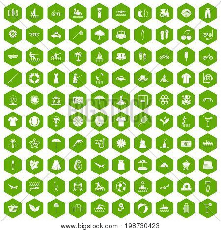 100 summer icons set in green hexagon isolated vector illustration