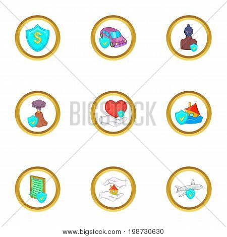 Life insurance icon set. Cartoon set of 9 life insurance vector icons for web isolated on white background