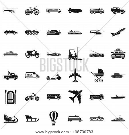 Driving icons set. Simple style of 36 driving vector icons for web isolated on white background