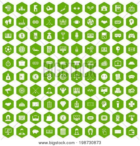 100 sweepstakes icons set in green hexagon isolated vector illustration