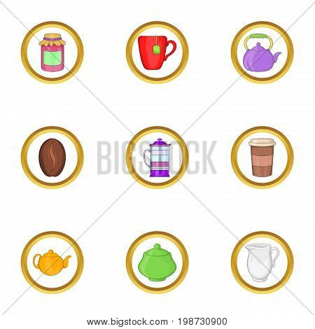 Morning coffee icon set. Cartoon set of 9 morning coffee vector icons for web isolated on white background