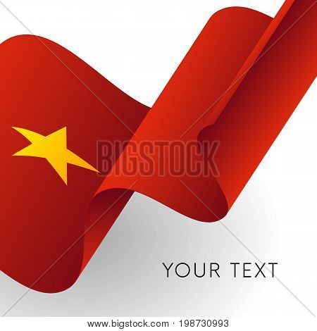 Vietnam flag. Patriotic design. Waving flag. Vector illustration.