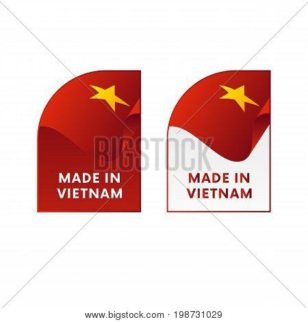 Stickers Made in Vietnam. Waving flag. Vector illustration.