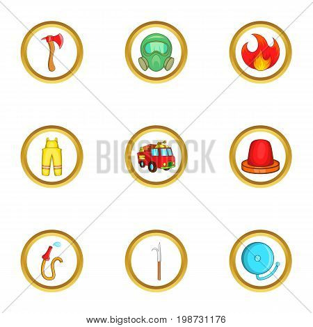 Fireman icon set. Cartoon set of 9 fireman vector icons for web isolated on white background