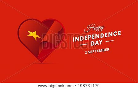 Vietnam Independence Day. 2 September. Waving flag in heart. Vector illustration.