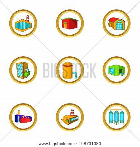 Industry icon set. Cartoon set of 9 industry vector icons for web isolated on white background