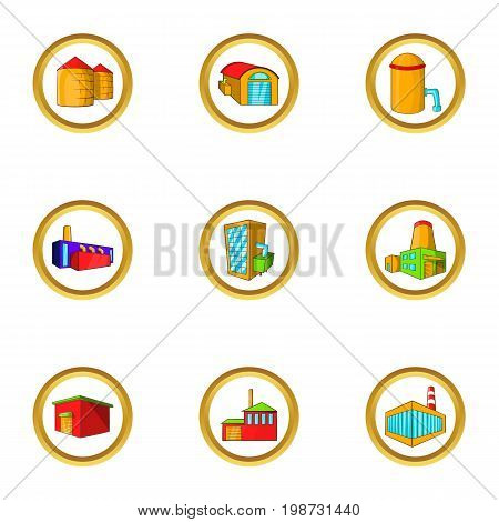 Industrial factory icon set. Cartoon set of 9 industrial factory vector icons for web isolated on white background