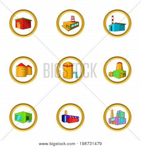 Industrial construction icon set. Cartoon set of 9 industrial construction vector icons for web isolated on white background