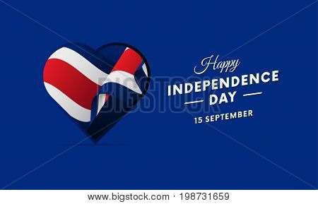 Costa Rica Independence Day. 15 September. Waving flag in heart. Vector illustration.