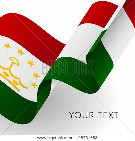 Tajikistan flag. Patriotic design. Waving flag. Vector illustration.