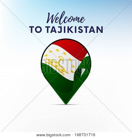Flag of Tajikistan in shape of map pointer or marker. Welcome to Tajikistan. Vector illustration.