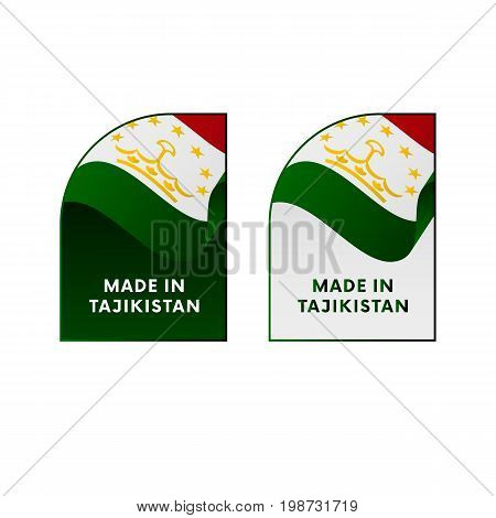 Stickers Made in Tajikistan. Waving flag. Vector illustration.