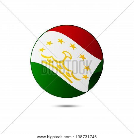 Tajikistan flag button with shadow on a white background. Vector illustration.