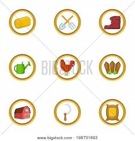 Farm icon set. Cartoon set of 9 farm vector icons for web isolated on white background