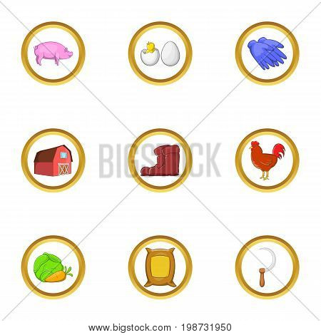Farmer hobby icon set. Cartoon set of 9 farmer hobby vector icons for web isolated on white background