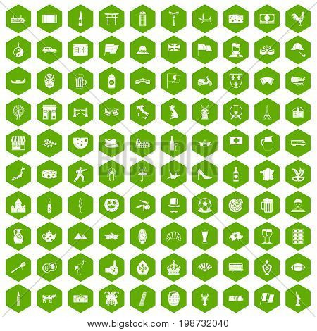 100 tourist attractions icons set in green hexagon isolated vector illustration