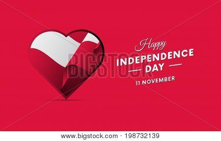 Poland Independence Day. 11 November. Waving flag in heart. Vector illustration.
