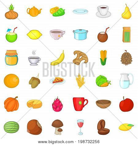 Vegetarian cafe icons set. Cartoon style of 36 vegetarian cafe ector icons for web isolated on white background