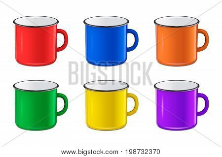 Vector illustration of realistic enamel metal red, blue, green and yellow mug set isolated on white background. EPS10 design template for Mock up.