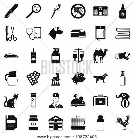 Veterinary icons set. Simple style of 36 veterinary vector icons for web isolated on white background