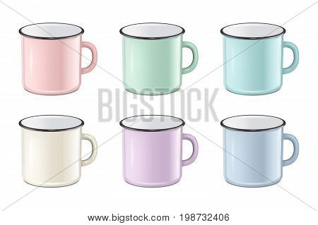 Vector illustration of realistic enamel metal in pastel colors - pink, green, blue - mug set isolated on white background. EPS10 design template for Mock up.