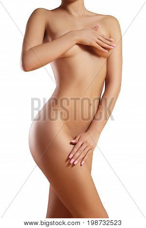 Beatiful body shapes. Slim waist flat belly soft clean skin. Perfect female body on white background. Sexy curves sport form. Healthcare