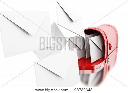 3d illustration. Open mailbox. Incoming mail concept. Isolated white background