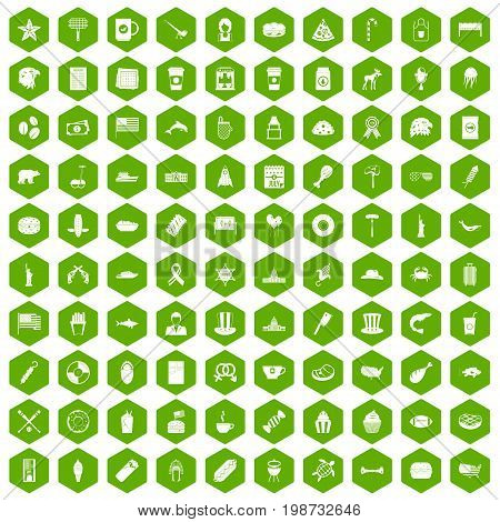 100 USA icons set in green hexagon isolated vector illustration