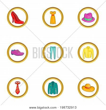 Classic clothes icon set. Cartoon set of 9 classic clothes vector icons for web isolated on white background