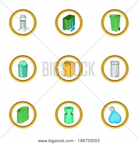 Garbage icon set. Cartoon set of 9 garbage vector icons for web isolated on white background