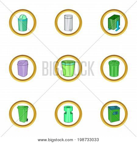Eco garbage icon set. Cartoon set of 9 eco garbage vector icons for web isolated on white background