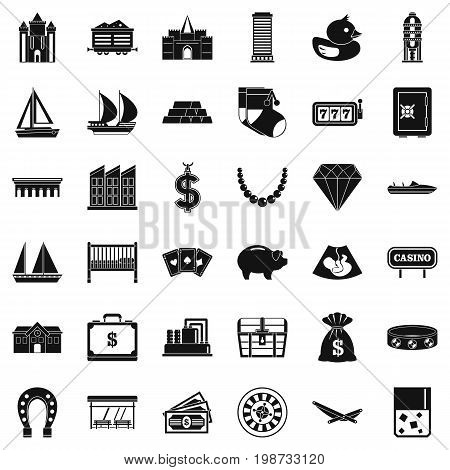 Wealth icons set. Simple style of 36 wealth vector icons for web isolated on white background