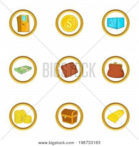 Bank icon set. Cartoon set of 9 bank vector icons for web isolated on white background